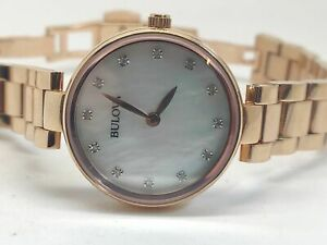 Bulova 97S11 Sapphire Crystal Diamond Gallery Mother of Pearl Ladies Watch (10E)