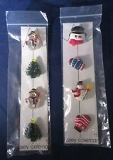 2 Sets - Snowmen, Tree, Mittens Casey Coleman Christmas Winter Button Covers -
