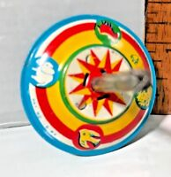 *ALMOST NEW!* VINTAGE 1970S TIN TOY WIND-UP MINI SPINNING TOP JAPAN BRIGHT COLOR