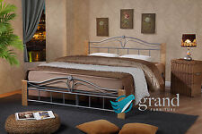 Thiago Modern Metal Wooden Bed Frame Beech and Silver Bedroom Furniture 4ft Small Double