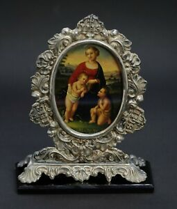 Miniatur Gemälde Madonna - Öl auf Blech, 19. Jahrhundert (# 12316)