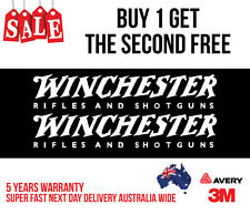 2 x WINCHESTER HUNTING DECAL STICKER FOR CAR, UTE, ESKY 300MM WIDE IN WHITE