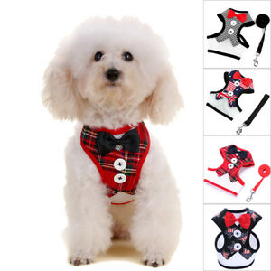 S/M/L Puppy Dogs Bowtie Gentleman Tuxedo Suit Harness Vest Polyester with Handle