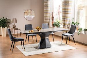 """CORTEZ"" Anthracite & Grey Ceramic Marble Extending Dining Table 160cm - 210cm"