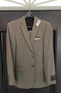 $795 NEW Jos A Bank Signature Super 100% Wool 2 Button Suit 38R 32 W L SLIM FIT