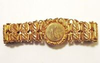Victorian Gold Filled Ornate SWEETHEART EXPANDABLE BRACELET DATED 1904 SEE Imgs