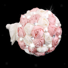 Artificial Rose Flowers Bouquet Wedding Bridal Faux Pearl Decor Ivory & Pink