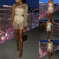 Women Sexy One Shoulder Hollow Out Metallic Knitted Bodycon Mini Dress Clubwear