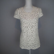 Lilly Pulitzer  Womens Size M White Crochet Top Shirt short bsleeve blouse ***
