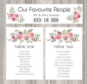 Handmade Personalised Wedding Table Plan Cards Individual Seating Planner Floral