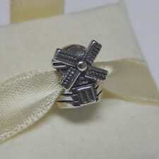 New Authentic Pandora Charm Windmill 791297 Bead W Tag & Suede Pouch