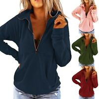Women Long Sleeve Tops Sweatshirt Ladies Casual Zip V-neck T Shirt Blouse Chic
