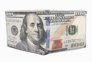 USA $100 One Hundred Dollar Bill Print Men's Leather Bifold Novelty Wallet