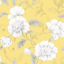 Wallpaper Rasch - Luxury Boutique Floral / Flowers Design - In Yellow - 226164-1
