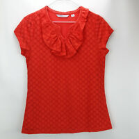 Isaac Mizrahi Live! Knit Lace Top with Ruffle Neckline Bright Orange XS A254788