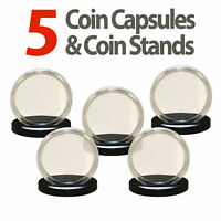 5 Coin Capsules & 5 Stands for SILVER EAGLES Direct Fit Airtight 40.6mm Holders