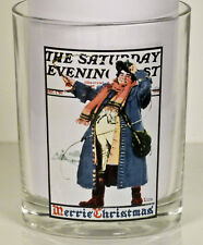 Saturday Evening Post Norman Rockwell Christmas Coachman Glass Tumbler