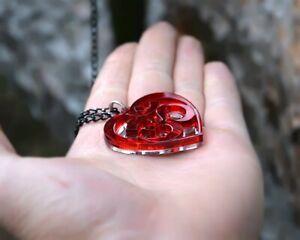Aum Necklace Om Red Pendant Unique Design Black Chain