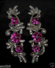 LR160-3 Pair Floral Sequin Beaded Applique Fuchsia Dancewear Belly Dance Motif
