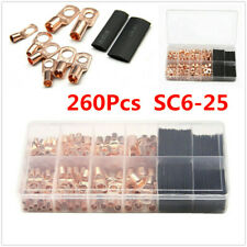 260Pcs Boxed SC6-25 Copper Terminal Wire Connectors Cable Ring Lug Gauge For Car