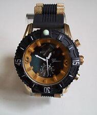 Men's Geneva Heavy Black/Gold Finish Silicon Band Fashion Dressy/Casual Watch