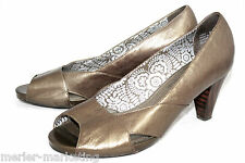 INDIGO by Clarks 83832 Wo's 9.5M Metallic Bronze Leather Peep Toe Pumps Heels