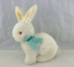 Vintage Dakin White Bunny Rabbit Pink Eyes