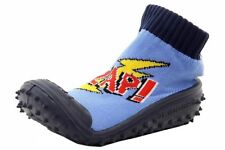 Skidders Infant Toddler Boy's Zap! Navy Skidproof Slip On Shoes Sz 8 (24 Months)