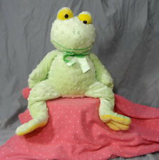 "Mary Meyer Bumpy Frog Green Toad Plush 14"" Sitting Satin Ribbon Bow"
