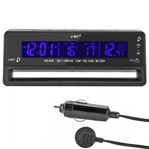 Digital LCD 12V Car Voltage Monitor Battery Alarm Clock Temperature Thermometer
