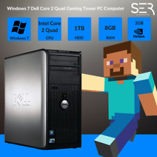 Windows 7 Dell Core 2 Quad Gaming Tower PC Computer - 8GB RAM - 1TB HDD - Wi-Fi