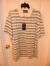Roundtree and Yorke Short Sleeve Tan Teal Striped Polo Shirt Mens XL NWT