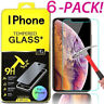 [6-Pack] iPhone 7 8 Plus X XS XR XS Max Premium Tempered Glass Screen Protector