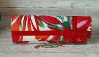 Evening Clutch Bag Shoulder Chain Red Multi Tropical Floral Ribbon Bow