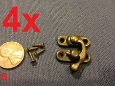 4 sets - (S) latch hook Hinge small mini  Antique wood box Catch Decorative A7
