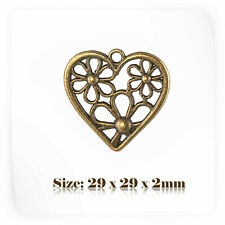 10 Bronze Antique Vintage Style Heart Charms Pendant Steampunk 088