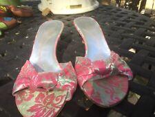 Kate Spade Pink / Silver Brocade Knotted Slide Sandal. 9 1/2 M
