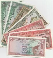 Ceylon 2 5 10 Rupees 1974 1975 1982 Banknotes Papermoney Lot of 7