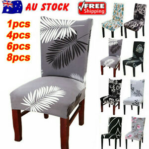 1/4/6/8PCS Dining Chair Seat Covers Slip Stretch Wedding Banquet Party Removable