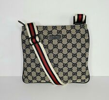 GUCCI GG Monogram Blue Gray Small Canvas Web Strap Flat Messenger Bag