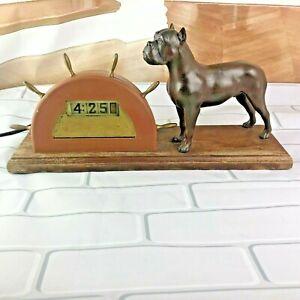 Vintage 1950 Tele-Vision By Pennwood  Rolling Flip TV Boxer Dog Mantel Clock