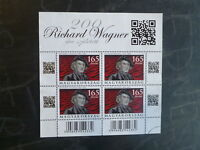 2013 HUNGARY 200tH ANNIV RICHARD WAGNER 4 STAMP MINI SHEET USED STAMPS