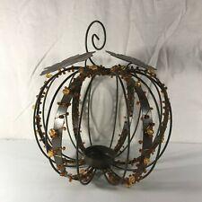 Beaded Metal Pumpkin Candle Votive Tealight Holder Thanksgiving Fall Autumn