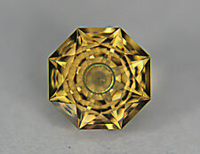 Citrine. Flat Facet With Carving.12.50 mm. 7.15 cts. Beautiful Collectors Stone.