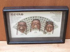 Masques coreens sous cadre artisanat coreen Korean masks