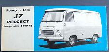BROCHURE PUBLICITAIRE PEUGEOT J7 AUTOMOBILE DEPLIANT 1965 CAR TRUCK