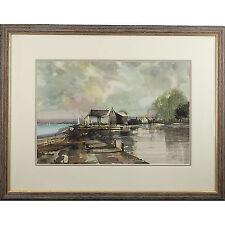 Tradizionale firmato incorniciato dipinto ad Acquerello Suffolk Mill MARINA 64 x 51 cm