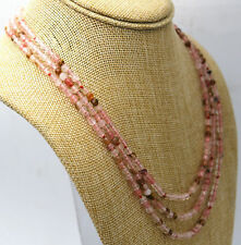 "watermelon tourmaline bead necklace 17-19"" Fashion 3 rows 4mm faceted multicolor"
