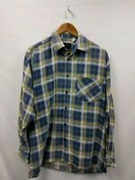 """Mens Classic Vintage Flannel Blue Yellow Check Shirt Size Pit to Pit 24"""" #2B3"""