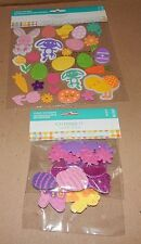 Easter Kids Crafts Foam Stickers 42pc & 25pc Bunnies Eggs Chicks Glitter 109T